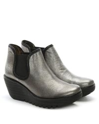 Fly London - Yat Silver Metallic Leather Mid Wedge Chelsea Boots - Lyst