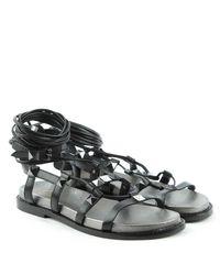 Ash - Magnum Black Leather Studded Gladiator Sandal - Lyst