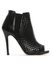 Daniel - Apeep Black Leather Laser Cut Ankle Boots - Lyst