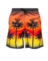 Marcelo Burlon - Orange 'red Palm' Swim Shorts for Men - Lyst