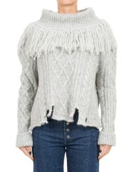 Philosophy Di Lorenzo Serafini. Women s Gray Fringed Alpaca Blend Knit  Sweater a420b961e