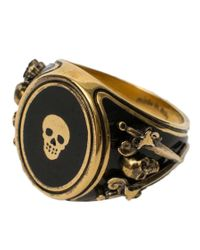 Alexander McQueen - Multicolor 'signet Skull' Ring for Men - Lyst