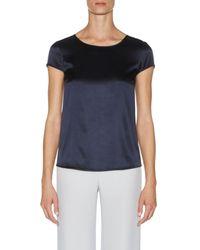 Armani | Blue Silk Satin Short Sleeve Classic Top | Lyst