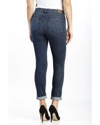 PAIGE | Blue Hoxton High Rise Crop Roll Up Jean With Destruct | Lyst