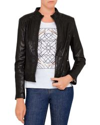 BOSS Orange | Black Janabelle Biker Leather Jacket | Lyst