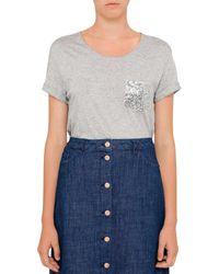 BOSS Orange | Gray Tamiasa Regular Fit T-shirt With Sequin Pocket | Lyst