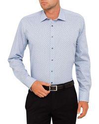 Calvin Klein   Blue Dobby Crosses Slim Fit Shirt for Men   Lyst