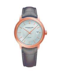 Raymond Weil | Multicolor Maestro, 39.5mm, Auto, Rose Pvd, Index, Leather | Lyst