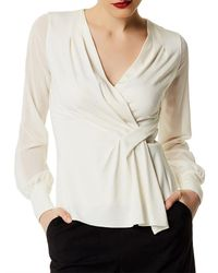Karen Millen - White Draped Long-sleeve Top - Lyst