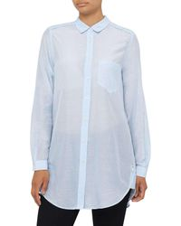BOSS Orange | Blue Chrisler Ls Block Colour Silk Cotton Blouse | Lyst