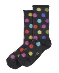 Hue - Black Blurred Dots Roll Top Sock - Lyst