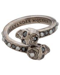 Alexander McQueen - Metallic Jew.twin Skull Ring - Lyst