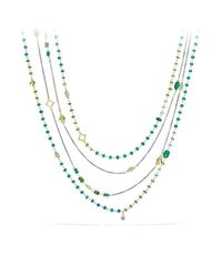 David Yurman - Bijoux Bead Necklace With Green Onyx, Green/chrome Diopside, Tsavorite And 18k Gold - Lyst