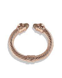 David Yurman - Metallic Renaissance Bracelet With Cognac Diamonds In 18k Rose Gold, 10mm - Lyst