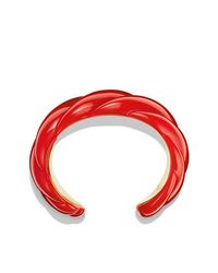 David Yurman - Red Resin Sculpted Cable Cuff Bracelet With 18k Gold - Lyst