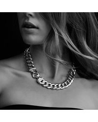David Yurman - Metallic Cable Buckle Chain Necklace With Diamonds - Lyst