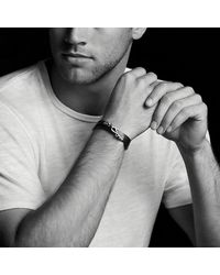 David Yurman - Chevron Double Wrap Leather Bracelet In Black for Men - Lyst