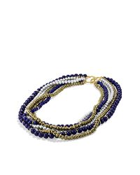 David Yurman | Blue Dy Signature Bead Necklace With Lapis Lazuli, Pyrite And Pearl In 18k Gold | Lyst