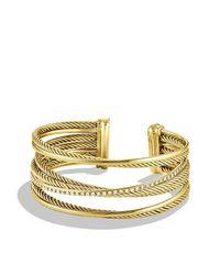 David Yurman - Yellow Crossover Four-row Cuff Bracelet With Diamonds In 18k Gold, 23mm - Lyst