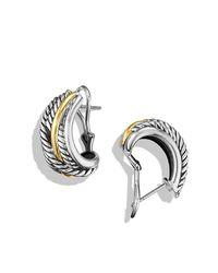 David Yurman | Metallic Crossover Earrings With 14k Gold | Lyst