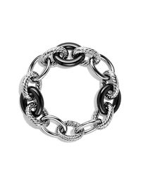 David Yurman - Extra-large Oval Link Bracelet With Black Ceramic - Lyst