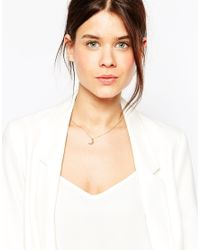 ASOS - Metallic Rose Gold Plated Brass Crescent Necklace - Lyst