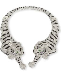 Roberto Cavalli | Gray Tiger Jewelled Necklace | Lyst