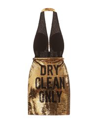 Moschino - Metallic Dry Clean Only Sequin Halter Dress - Lyst