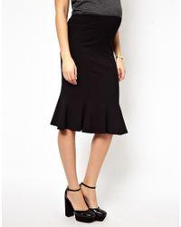 ASOS - Black Fluted Hem Pencil Skirt - Lyst