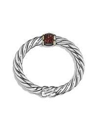 David Yurman | Metallic Bracelet With Garnet And 18k Gold | Lyst