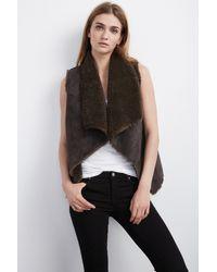 Velvet By Graham & Spencer - Brown Analucia Faux Fur Vest - Lyst