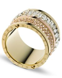 Michael Kors | Metallic Gold-Tone Pave And Stone Barrel Ring | Lyst