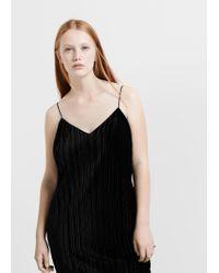 Violeta by Mango - Black Textured Strap Dress - Lyst