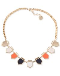 French Connection - Metallic Gold-Tone Enamel Arrowhead Station Frontal Necklace - Lyst