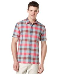 Perry Ellis | Pink Gingham Pattern Shirt for Men | Lyst