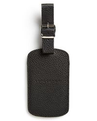Longchamp - Black Leather Luggage Tag - Lyst