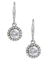 Betsey Johnson | Metallic Silver-tone Crystal Drop Earrings | Lyst