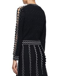 Alexander McQueen - Black Knit Cardigan W/contrast Piping - Lyst