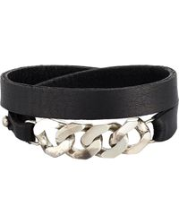 Loren Stewart | Black Chain & Leather Wrap Bracelet for Men | Lyst