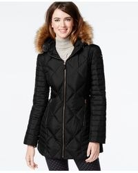 Marc New York | Black Faux-fur-trim Diamond-quilted Down Coat | Lyst
