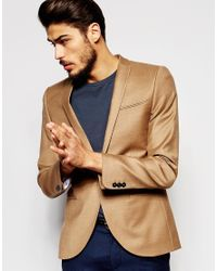 Noak | Brown Flannel Wool Blazer In Super Skinny Fit for Men | Lyst