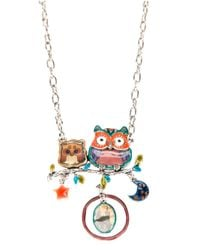 !item - Metallic Double Owl Pendant Necklace - Lyst