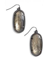 Kendra Scott | Metallic 'elle' Drop Earrings - Gunmetal/ Mirror Rock Crystal | Lyst