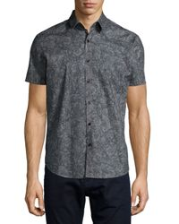 Theory - Gray Printed Short-sleeve Woven Shirt for Men - Lyst