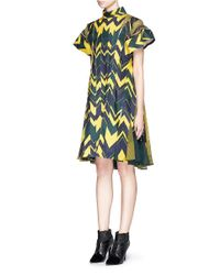 Sacai - Blue Woven Chevron-Print Dress - Lyst
