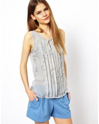 Traffic People - Gray Zebra Bow Print Collared Top - Lyst
