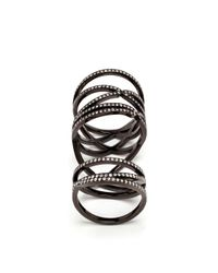 Repossi | 18K Black Gold And Diamond Double Ring | Lyst