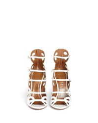 Aquazzura - White 'J'Adore' Scalloped Leather Strappy Sandals - Lyst