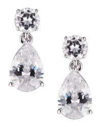 Nadri | Metallic Cubic Zirconia Pear Drop Earrings | Lyst