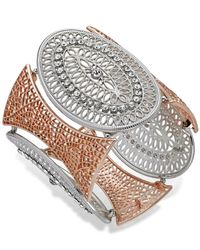 INC International Concepts | Pink Two-tone Medallion Filigree Stretch Bracelet | Lyst